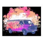 furgoneta retra del hippie del grunge postal