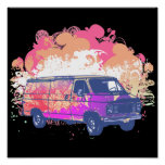 furgoneta retra del hippie del grunge poster