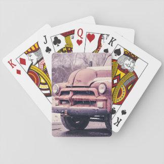 furgoneta roja del vintage de la mirada delantera baraja de póquer