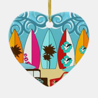 Furgonetas del Hippie del vago de la playa de las Adorno Navideño De Cerámica En Forma De Corazón