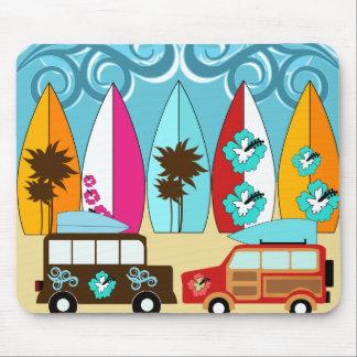Furgonetas del Hippie del vago de la playa de las Alfombrilla De Ratón