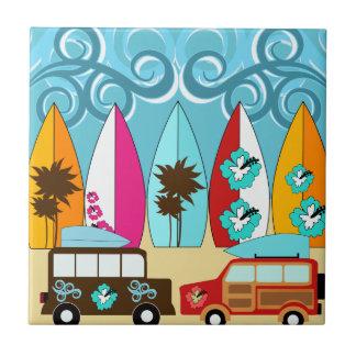 Furgonetas del Hippie del vago de la playa de las Azulejo Cuadrado Pequeño