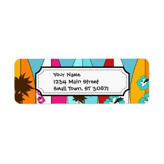 Furgonetas del Hippie del vago de la playa de las  Etiqueta De Remite