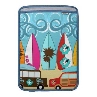 Furgonetas del Hippie del vago de la playa de las  Fundas Para Macbook Air