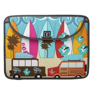 Furgonetas del Hippie del vago de la playa de las  Fundas Macbook Pro