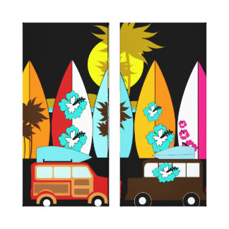 Furgonetas del Hippie del vago de la playa de las Impresión En Lienzo