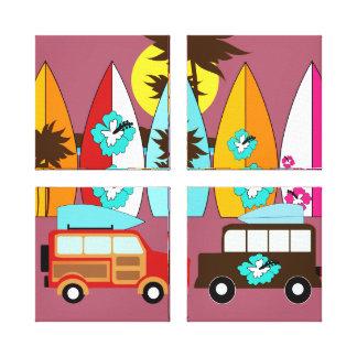 Furgonetas del Hippie del vago de la playa de las  Impresion De Lienzo