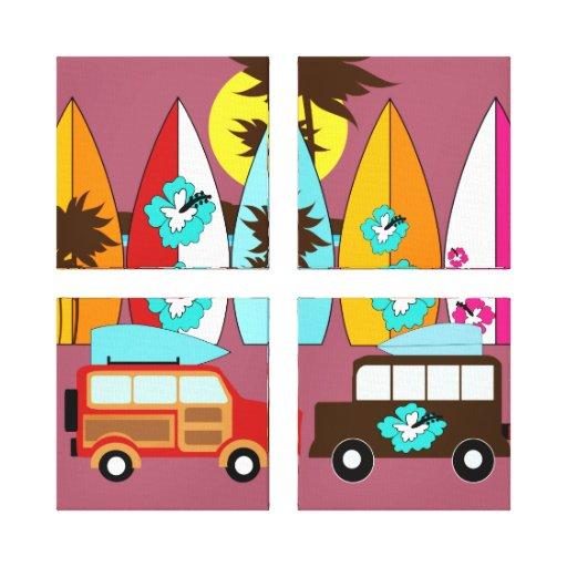 Furgonetas del Hippie del vago de la playa de las  Impresión En Lona