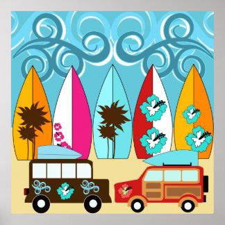 Furgonetas del Hippie del vago de la playa de las Posters