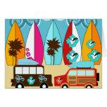 Furgonetas del Hippie del vago de la playa de las  Tarjetas