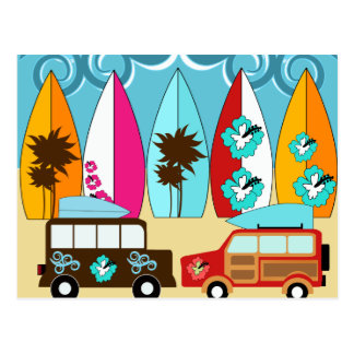 Furgonetas del Hippie del vago de la playa de las Tarjeta Postal