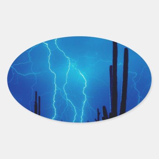 Furioso azul de la tormenta calcomanía oval