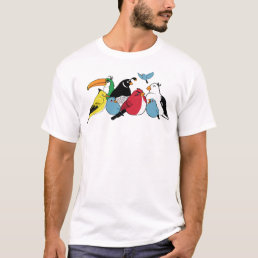 Furious Feathered Friends (White) T-Shirt