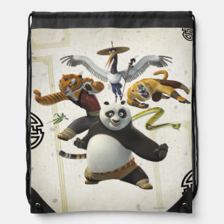 Furious Five Pose Drawstring Bag