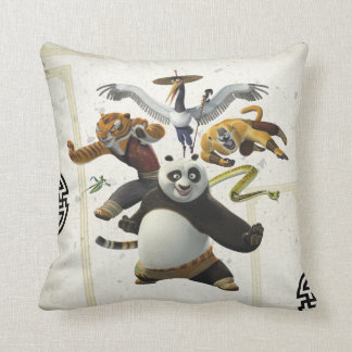 Furious Five Pose Throw Pillow