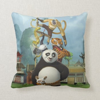 Furious Five Stacked Throw Pillow by kungfupanda at Zazzle