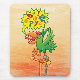 Furious green parrot saying bad words mouse pad