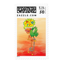 Furious green parrot saying bad words postage