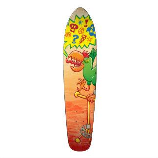Furious green parrot saying bad words skateboard