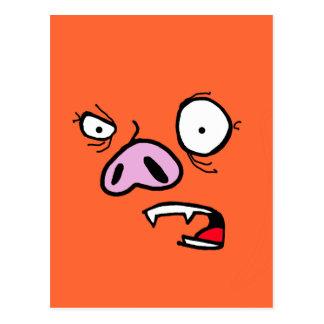 Furious pig face postcard