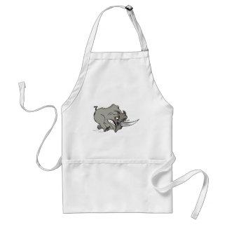 furious rhinoceros - angry rhino comic design adult apron