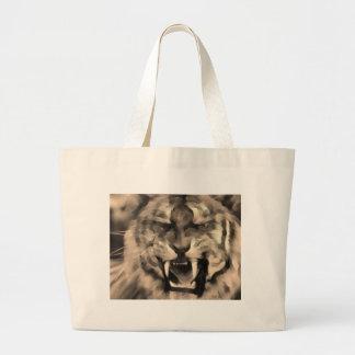 furious tiger large tote bag