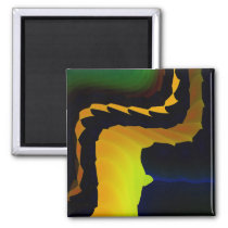 Furnace Cool Abstract Fine Fractal Art 2 Inch Square Magnet