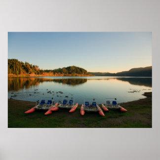 Furnas lake at sunset poster