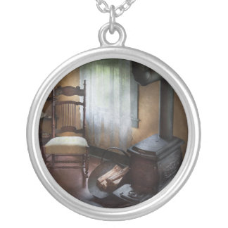 Furniture - Chair - Happiness is a warm seat Round Pendant Necklace