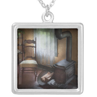 Furniture - Chair - Happiness is a warm seat Square Pendant Necklace