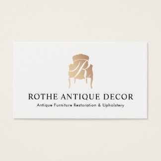 Furniture Restoration & Decor Gold Monogram Logo Business Card