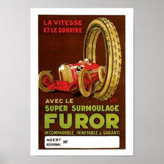 Furor Avec Le Automobile Vintage Ad Art Poster