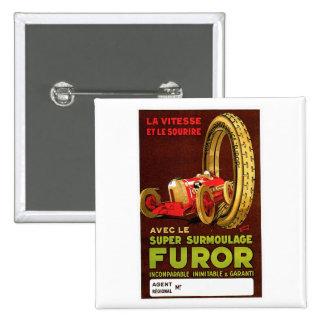 Furor Tires ~ Vintage Automobile Tire Ad Pinback Button