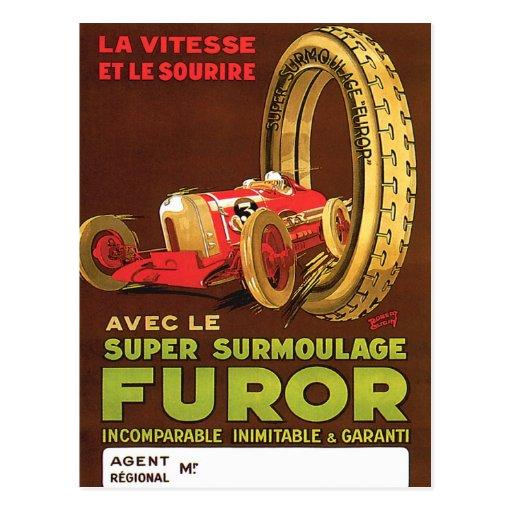 Furor Tires ~ Vintage Automobile Tire Ad Postcard
