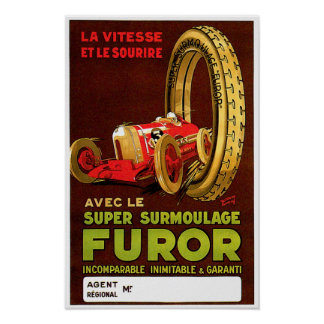 Furor Tires ~ Vintage Automobile Tire Ad Poster