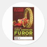 Furor Tires ~ Vintage Automobile Tire Ad Classic Round Sticker