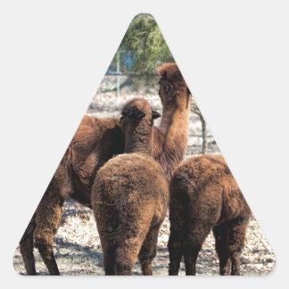Furry Brown Alpaca Behinds Triangle Sticker
