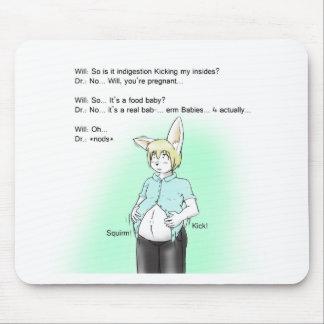 Furry bunny prenancy mouse pad
