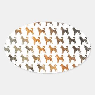 Furry Dogs Oval Sticker