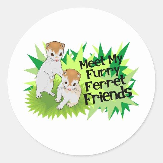 Furry Ferret Friends Classic Round Sticker