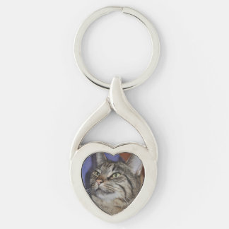 Furry Friend-Gray Tiger Stripe Cat Keychain