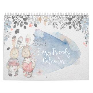Furry Friends Watercolor Rabbit Calendar