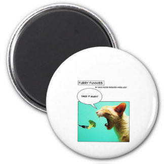 Furry Funnies ~ cat and broccoli 2 Inch Round Magnet