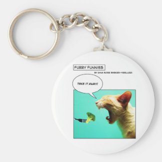 Furry Funnies ~ cat and broccoli Basic Round Button Keychain