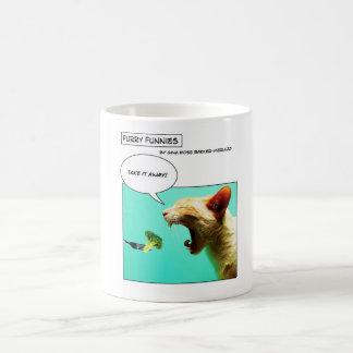 Furry Funnies ~ cat and broccoli Coffee Mug