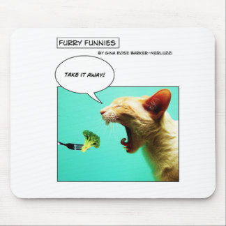 Furry Funnies ~ cat and broccoli Mouse Pad