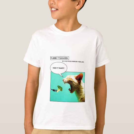 Furry Funnies ~ cat and broccoli T-Shirt