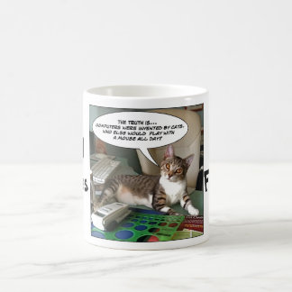 """Furry Funnies """"Cat with a Mouse?"""" Classic White Coffee Mug"""