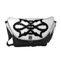 Furry Geometric Black & White Travel Messenger Bag