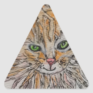 Furry Green Eyes Triangle Sticker